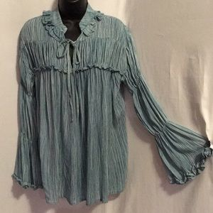 Easel L/S Rayon gauze top Faded Sage sizes S-L